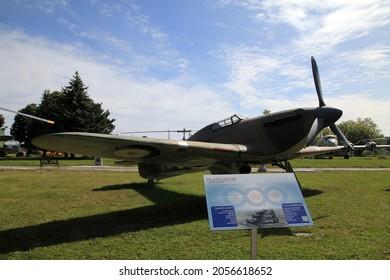 TRENTON, CANADA - AUGUST 16, 2021. Vintage Hurricane plane in Air museum in Trenton, Canada