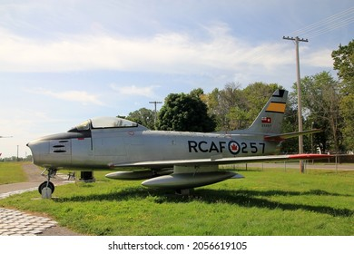 TRENTON, CANADA - AUGUST 16, 2021. Vintage Sabre plane in Air museum in Trenton, Canada