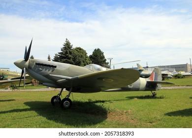 TRENTON, CANADA - AUGUST 16, 2021. Vintage Spitfire plane in Air museum in Trenton, Canada