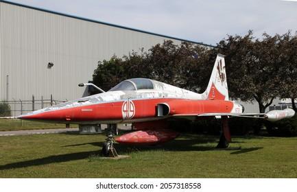 TRENTON, CANADA - AUGUST 16, 2021. Vintage plane in Air museum in Trenton, Canada