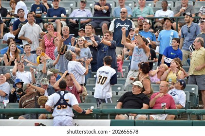 TRENTON, NJ - July 2: Fans go for a foul ball during the Eastern League game July 2, 2014 in Trenton, NJ.