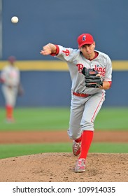 TRENTON, NJ - JULY 21: Reading Phillies pitcher Austin Hyatt throws a pitch during an Eastern League game July 21, 2012 in Trenton, NJ.