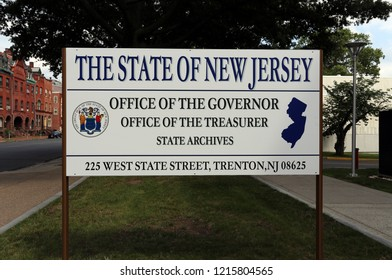 TRENTON, NJ, USA - SEPTEMBER 2: A sign marking the governor's office and other state offices in Trenton, New Jersey on September 2, 2018. Trenton is the state capital of New Jersey.