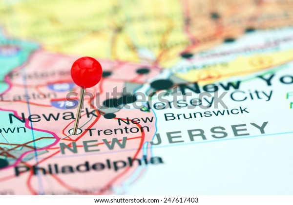 Trenton pinned on a map of USA