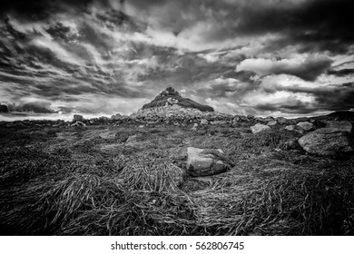 tresco island view in the isles of scilly cornwall england uk. black and white