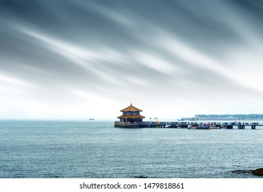Trestle Bridge and Maritime Scenery in Qingdao, Shandong Province, China