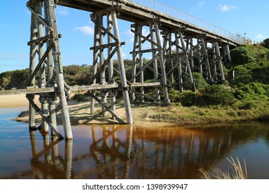 Trestle bridge near Kilcunda, Victoria, Australia.   Part of South Gippsland Rail trail for hikers and cyclists