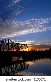 Trestle Bridge at Sunset over San Joaquin River, Central Valley, California