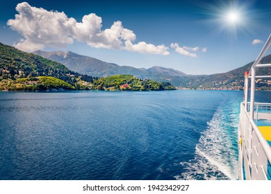 Treveling by ferry from Lefkada island to Kefalonia. Spectacular morning seascape of Ionian Sea. Colorful spring view of Nydri town, Greece, Europe. Traveling concept background.