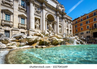 Trevi Fountain (Fontana di Trevi) in central Rome, Italy. The famous Rome landmark in the sunlight. Trevi Fountain is one of the main tourist attractions of Rome. Baroque architecture in Rome.