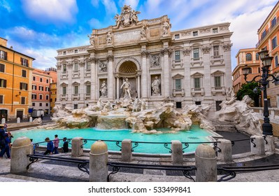 Trevi Fountain (Fontana di Trevi) in Rome, Italy. Trevi is most famous fountain of Rome. Architecture and landmark of Rome, Postcard of Rome.