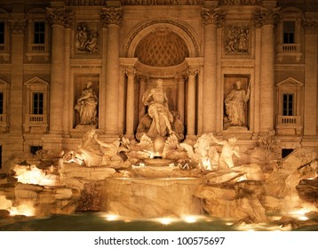 Trevi Fountain lit up at night, Rome, Lazio, Italy, Europe.