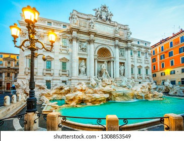 Trevi Fountain in the morning light in Rome, Italy. Trevi is most famous fountain of Rome. Architecture and landmark of Rome.