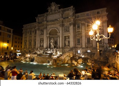 The Trevi Fountain at night, Rome, Italy