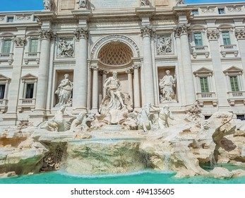 Trevi Fountain in Rome, Italy. Trevi Fountain is a fountain in the Trevi district in Rome, Italy, designed by Italian architect Nicola Salvi and completed by Pietro Bracci at 1762.