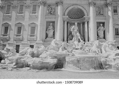 Trevi Fountain, Rome on 35mm (B&W)