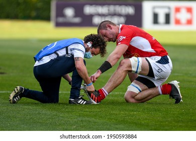 Treviso, Italy, April 03, 2021, Romain Briatte (Agen) injury during Rugby Challenge Cup Benetton Treviso vs SUA LG Agen