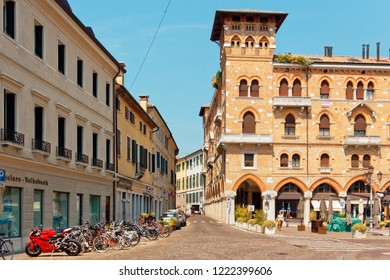 Treviso, Italy August 7, 2018: Beautiful street with old buildings.