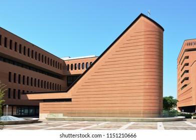 Treviso, Italy - jul 19 2018 – Appiani Area Church, designed by Mario Botta architect, year 2012