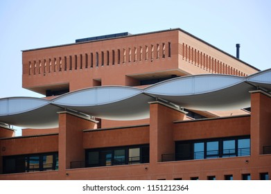 Treviso, Italy - jul 19 2018 – Appiani Area residential buildings, designed by Mario Botta architect, year 2012