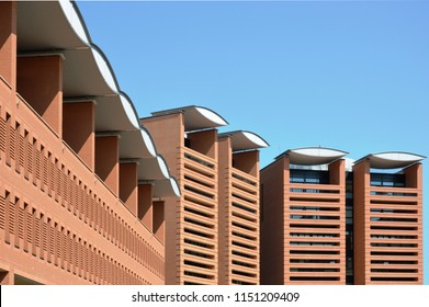 Treviso, Italy - jul 24 2018: Vertical buildings and square of Appiani Area, designed by Mario Botta Architect, year 2012