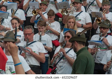 TREVISO, ITALY - MAY 13:  national assembly of the italian veterans alpine troops 13 and 14 may 2017. People celebration and musical band in Treviso centre