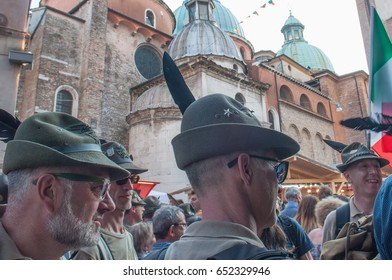 TREVISO, ITALY - MAY 13:  national assembly of the italian veterans alpine troops 13 and 14 may 2017. People celebration in Treviso centre