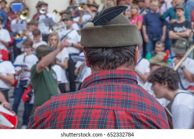 TREVISO, ITALY - MAY 13:  national assembly of the italian veterans alpine troops 13 and 14 may 2017. Alpine troops hat