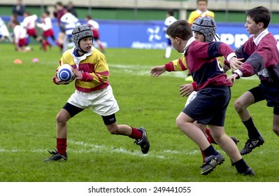 TREVISO, ITALY-JANUARY 29, 2015: children rugby match, in Treviso.
