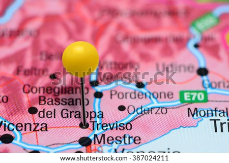 Treviso Pinned On Map Italy Stock Photo (Edit Now) 387024211 ...