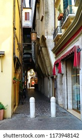 Treviso/Veneto/Italy - 1 August 2018: Treviso is a city and comune in the Veneto region of northern Italy. View of the beautiful streets of Italy.