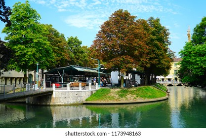 Treviso/Veneto/Italy - 1 August 2018: Treviso is a city and comune in the Veneto region of northern Italy. Treviso is a city in northeastern Italy with many canals.