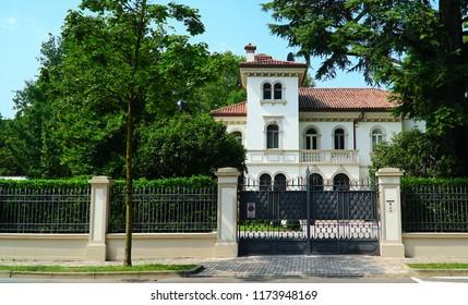 Treviso/Veneto/Italy - 1 August 2018: Typical italian house in Treviso, Veneto, Italy.