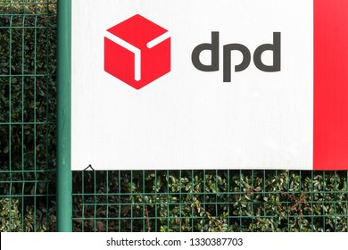 Trevoux, France - January 19, 2019: DPD logo on a panel. DPD is an international parcel delivery company owned by GeoPost. It has more than 830 depots in more than 40 countries