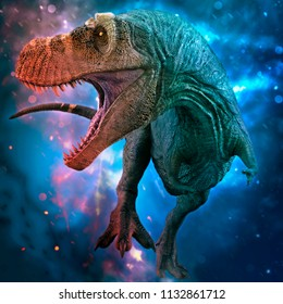 t-rex in the wild world storm 3d illustration