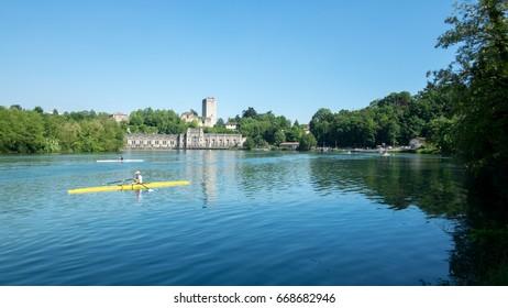 Trezzo d'Adda with canoe