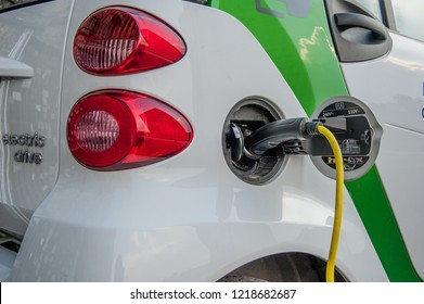Trezzo italy 11 June 2015: electric car while charging the energy battery