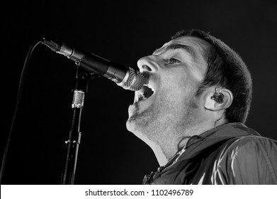 Trezzo sull'Adda Italy, 15 February 2014 , Live concert of Beady Eye at the Live Club Trezzo sull'Adda : the singer Liam Gallagher during the concert