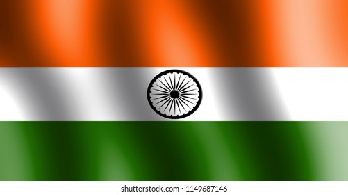 Tri color Indian flag with ashok chakra in center and saffron or orange color on top and green color in bottom.