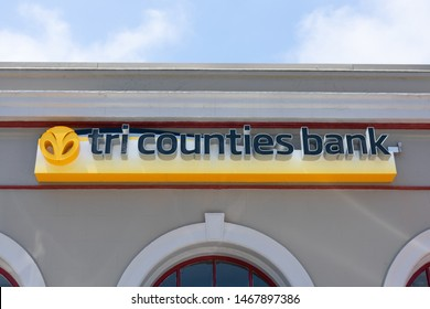 Tri Counties Bank sign and logo on a bank branch building. Tri Counties Bank is a wholly-owned subsidiary of TriCo Bancshares headquartered in Chico, California - Pescadero, California, USA - July 28,