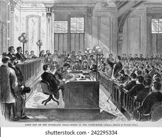 The trial of Daniel McFarland for murder of Richardson, the suspected seducer of his wife, Abby Sage. McFarland's defense was largely based on justified jealous insanity and he was acquitted. 1870