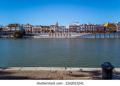 The Triana area and colorful houses an the riverbank of the Guadalquivir in Seville, Spain