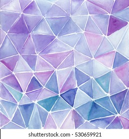 Triangle abstract background. Watercolor hand made artwork. Violet and lilac background