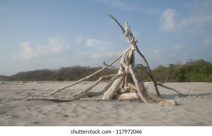 Triangle bonfire made of driftwood on the sand beach with the forest in the background and clouds in the blue sky