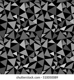 Triangle gray chaotic seamless pattern. Fashion graphic background design. Modern stylish abstract monochrome texture. Template for prints, textiles, wrapping, wallpaper, website etc. illustration