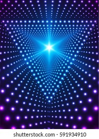 Triangle Grid of Lights. Light Effects Background. Concept for party flyers, music posters and disco graphic design.