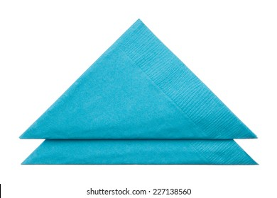 Triangle napkins isolated on white background, close up