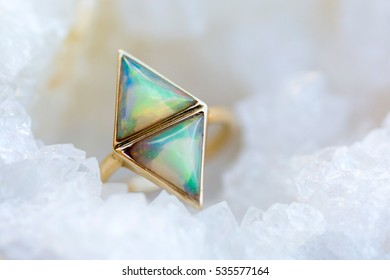 triangle opal ring in geode