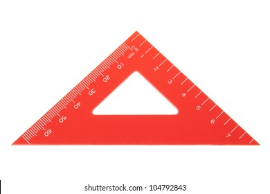 Triangle protractor closeup. On a white background.