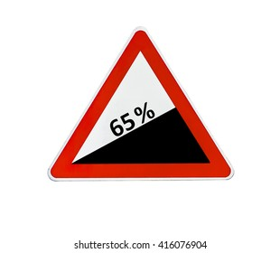 Triangle road sign dangerous descent